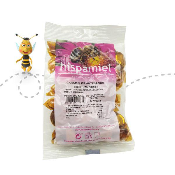 Paquete de caramelos de miel y jengibre de 100 gramos.