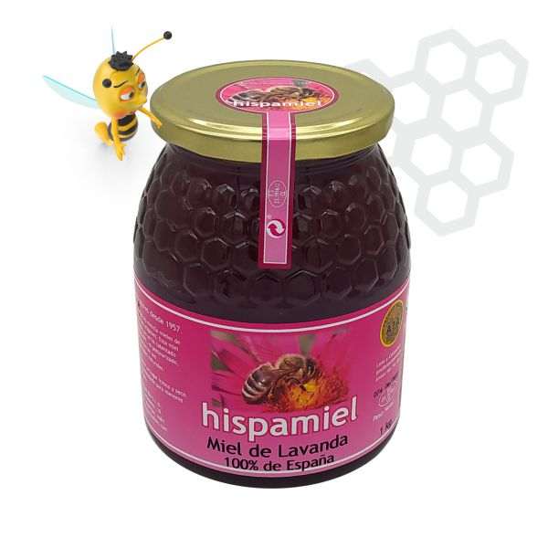 Tarro de 1 kilogramos de miel de lavanda.