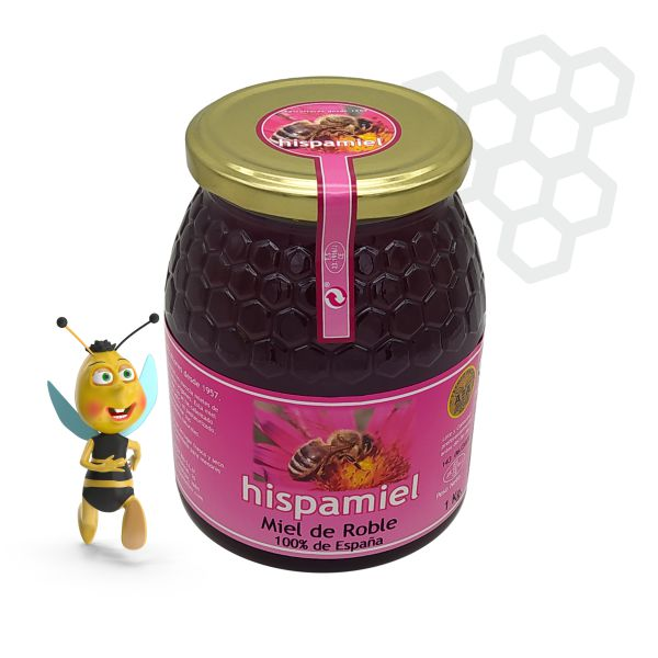 Tarro de 1 kilogramo de miel de roble.