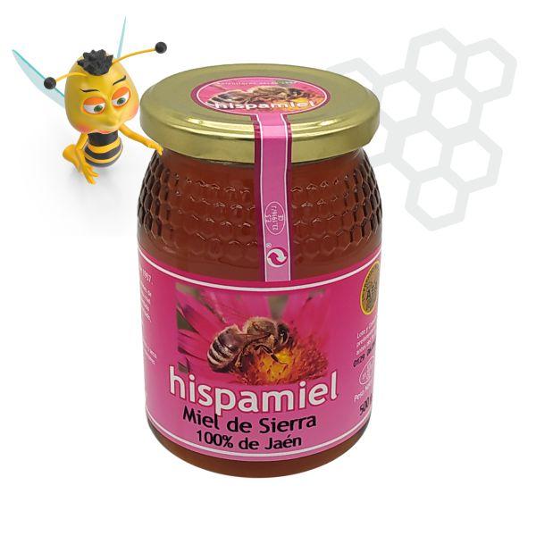 Tarro de 500 gramos de miel multifloral de sierra.